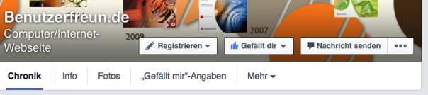 """Button """"Registrieren"""" auf Facebook"""