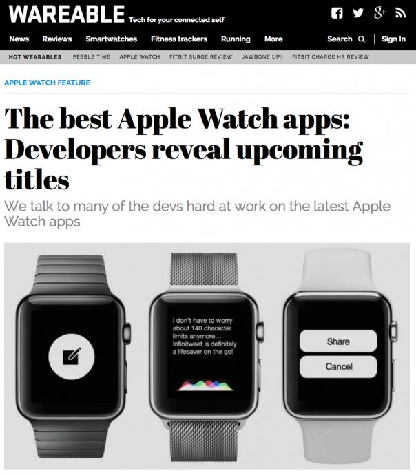 Screenshot Website Wareable