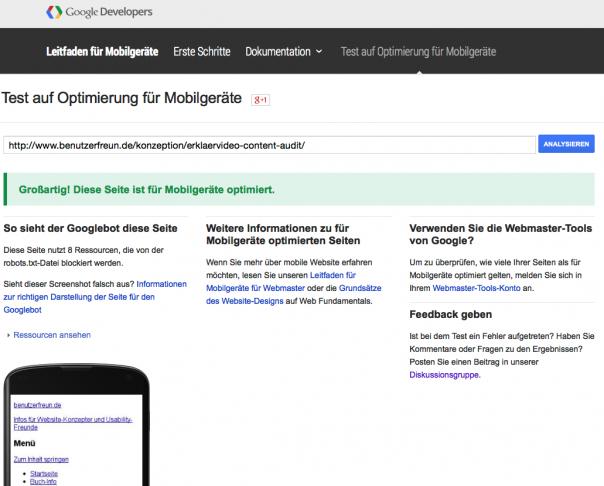 Google Test für mobile Optimierung