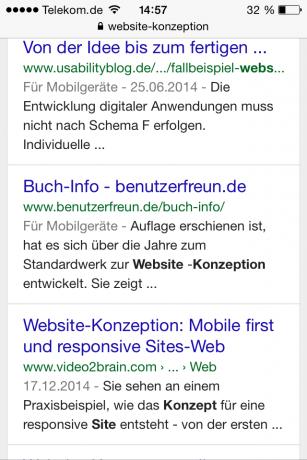 Trefferliste Google auf iPhone