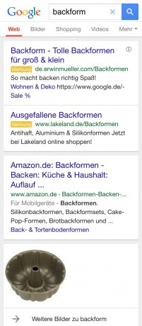 Screenshot AdWords auf Mobilgerät