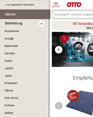 Screenshot mobiles Menü Otto.de