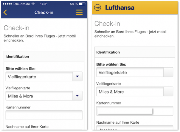 Lufthansa App und mobile Website