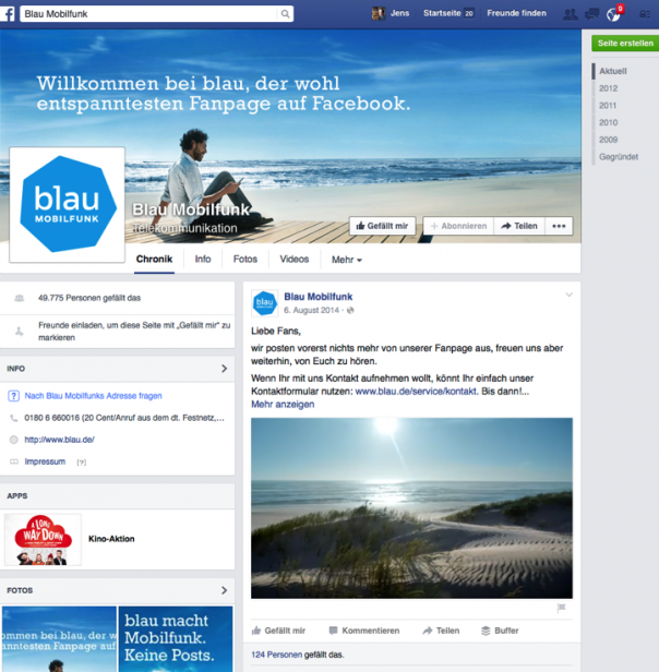 Screenshot Facebook-Seite Blau