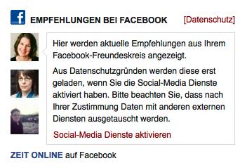 Screenshot Facebook-Einbindung auf zeit.de