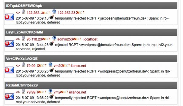 Screenshot Maillog mit Spam