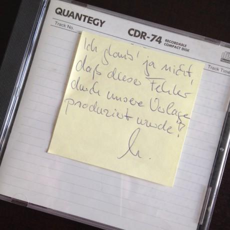 Foto Post-it Fehler auf CD