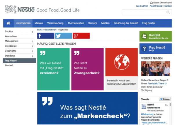 Screenshot Website Nestle