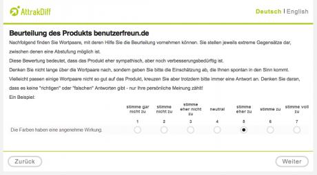 Beispiel AttrakDiff-Fragebogen Nutzerzufriedenheit