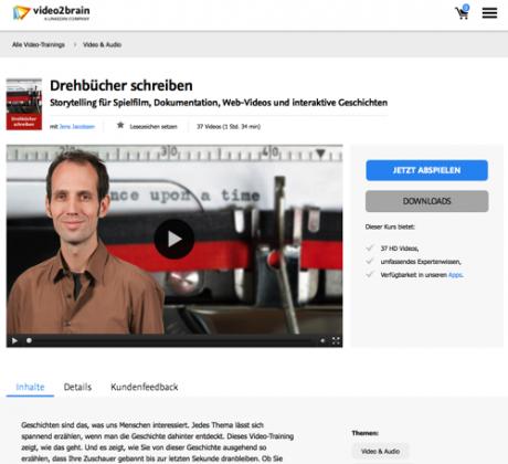 Screenshot video2brain Drehbücher schreiben