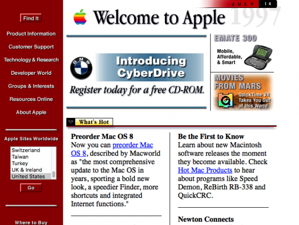 Screenshot Apple.com 1997
