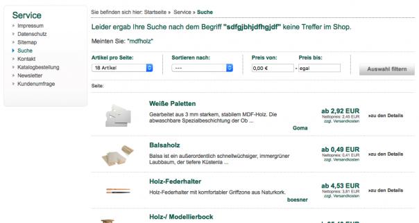 Screenshot Suchergebnisse Boesner.de