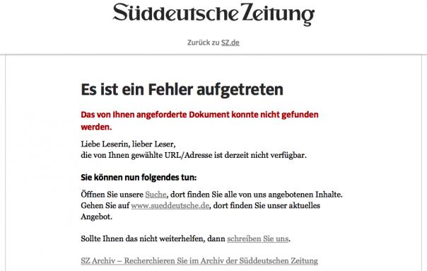 Screenshot Suchergebnisse Sueddeutsche.de
