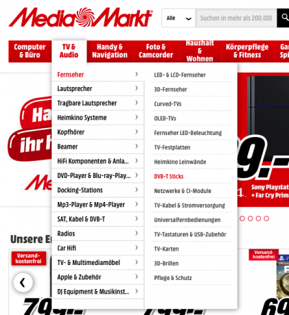 Screenshot Menü Mediamarkt.de