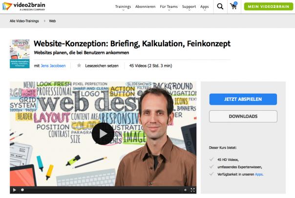 Das Videotraining Website-Konzeption: Briefing, Kalkulation, Feinkonzept Websites planen, die bei Benutzern ankommen von Jens Jacobsen bei video2brain.