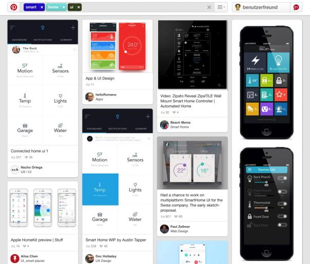 Screenshot Pinterest Smart Home Interfaces
