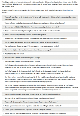 Screenshot FAQ Bundesnetzagentur