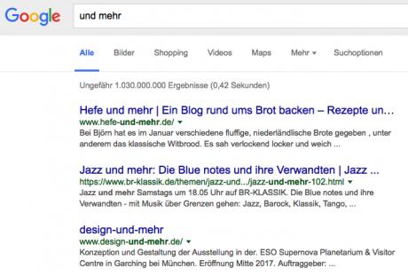 Screenshot Google-Suche 'und mehr'