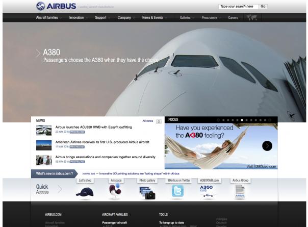 Screenshot Startseite Airbus