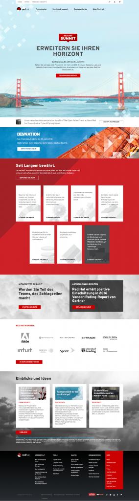 Screenshot Startseite Red Hat