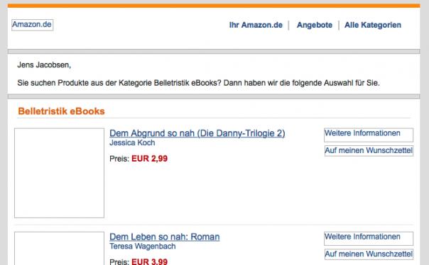 Screenshot Mailing Amazon ohne geladene Bilder