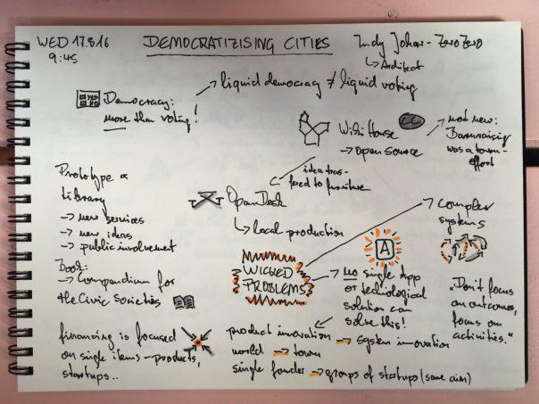 Sketchnotes - Democratizing Cites 1