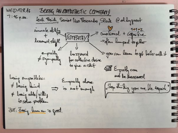 Sketchnotes - Beeing an Empathetic Company