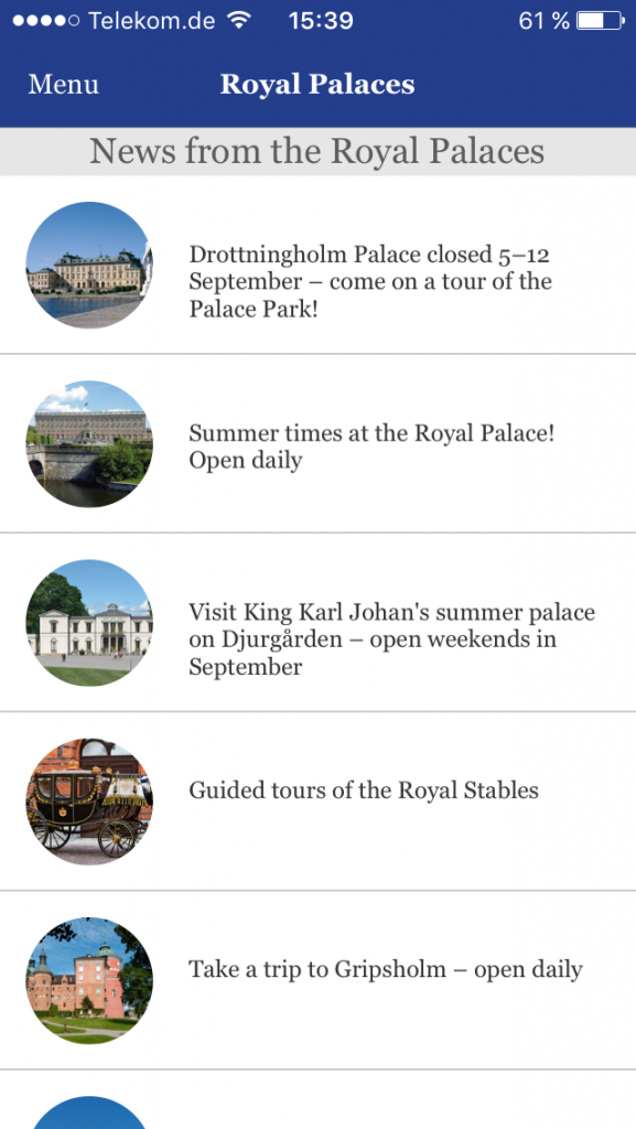 Screenshot App Swedish Royal Palaces