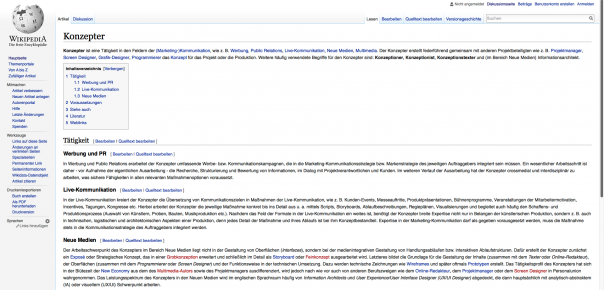 Screenshot Wikipedia auf breitem Screen