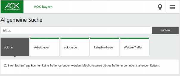 Screenshot Suche AOK