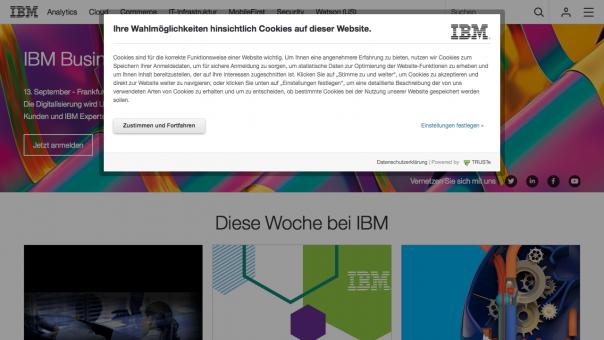 Cookie-Hinweis auf ibm.de