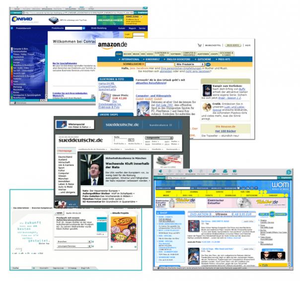 Screenshot Websites um 2000