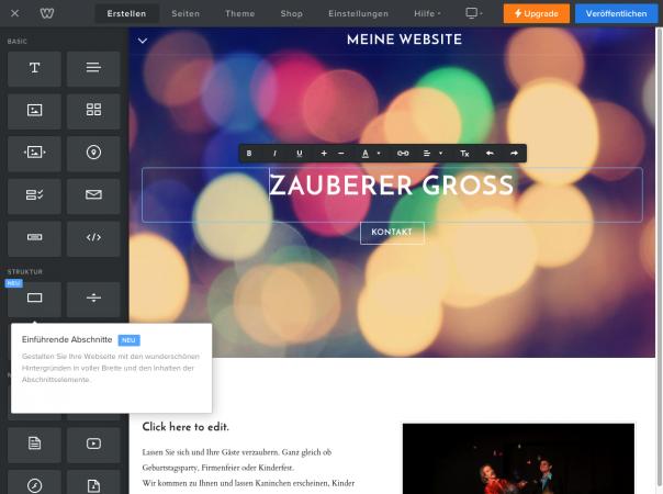 Screenshot Interface Weebly