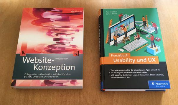 Fotos Bücher Website-Konzeption vs. Praxisbuch Usability und UX