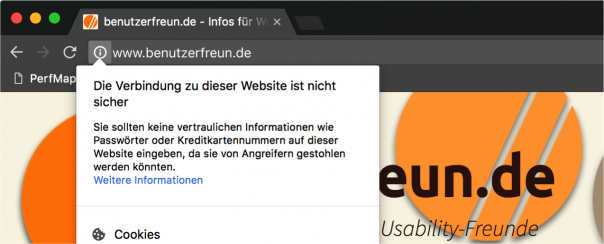 Screenshot Chrome Sicherheitswarnung
