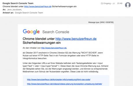 Screenshot Mail Google Warnung SSL