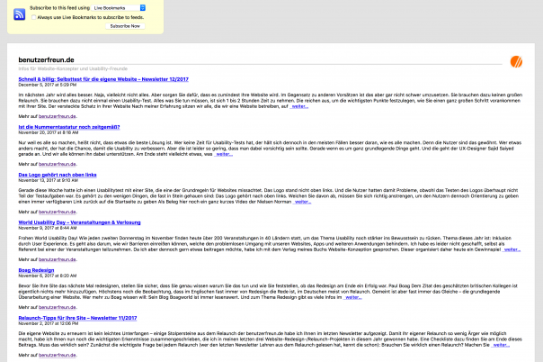 Screenshot RSS-Anzeige in Firefox