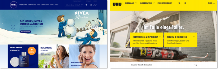 Screenshots Websites Nivea & Uhu