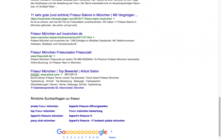Screenshot Trefferliste Friseure Google