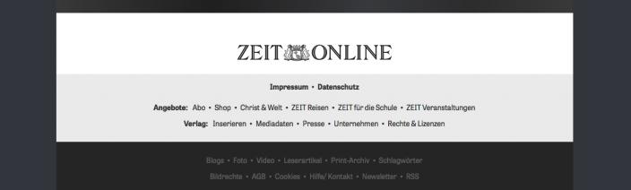 Screenshot Fußteil Die Zeit