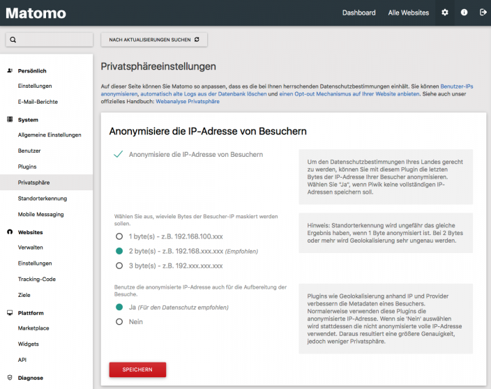 Screenshot Privatshaereeinstellungen IP-Adresse Matomo