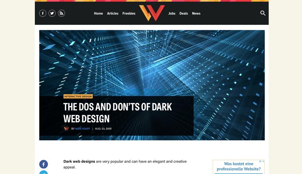 Vorschaubild Gestaltung dunkler Websites