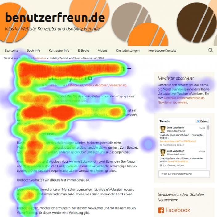 F-Muster Blickverfolgung Webseite