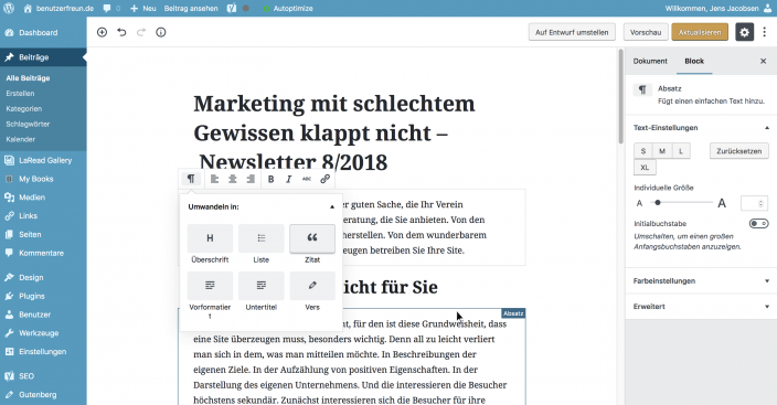 Screenshot Gutenberg Block bearbeiten