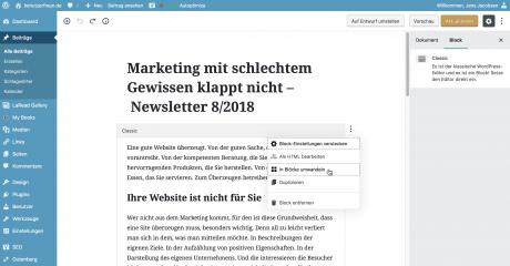 Screenshot Gutenberg-Classic-umwandeln
