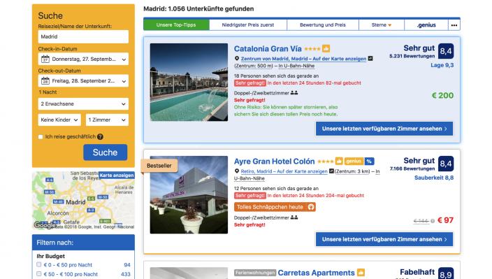 Screenshot Booking.com Überzeugungs-Elemente