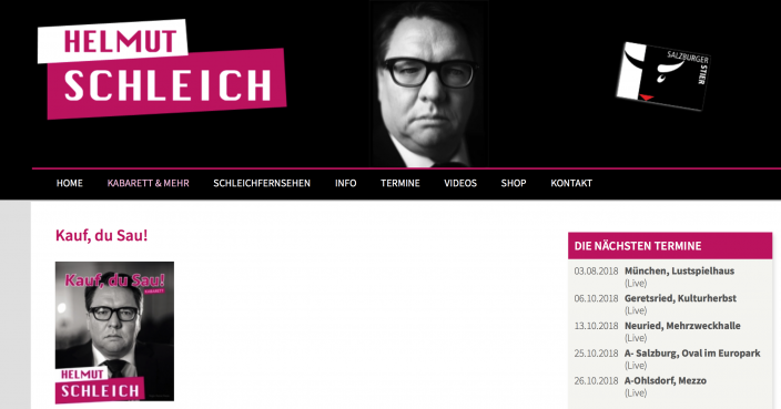 Screenshot Website Helmut Schleich