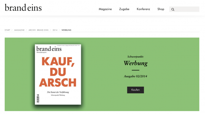 Screenshot Website brand eins