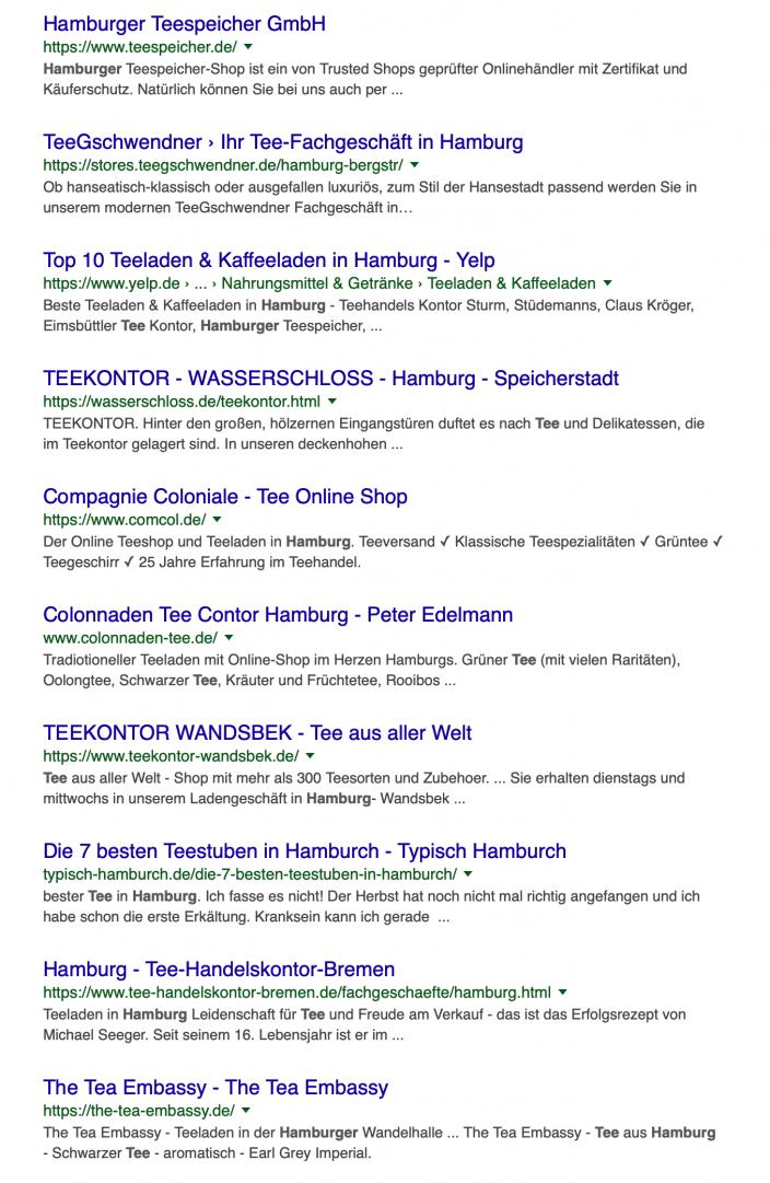 Suchergebnisliste Google