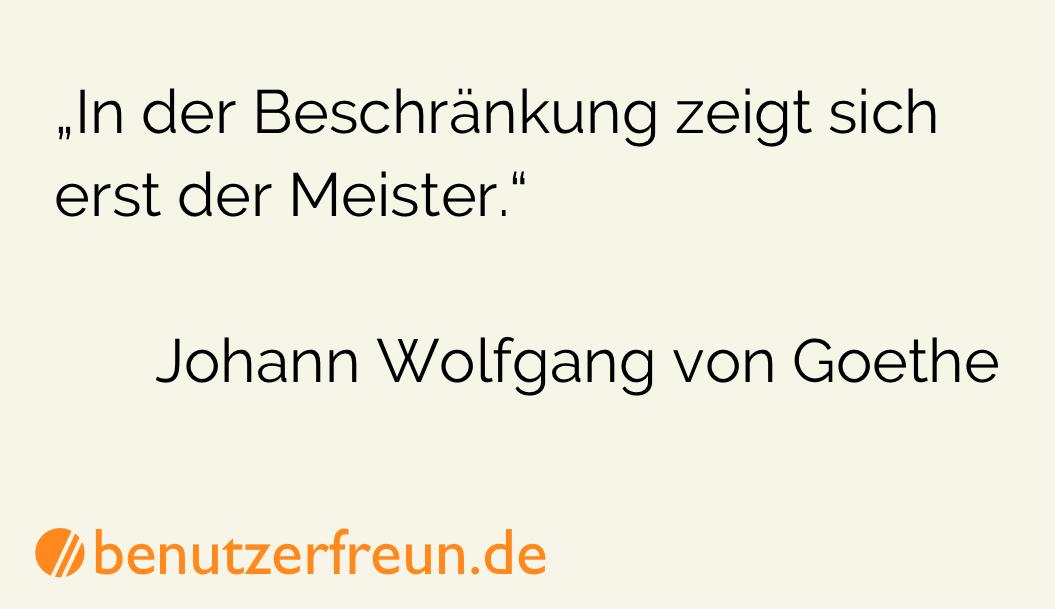 Zitat Beschraenkung Goethe